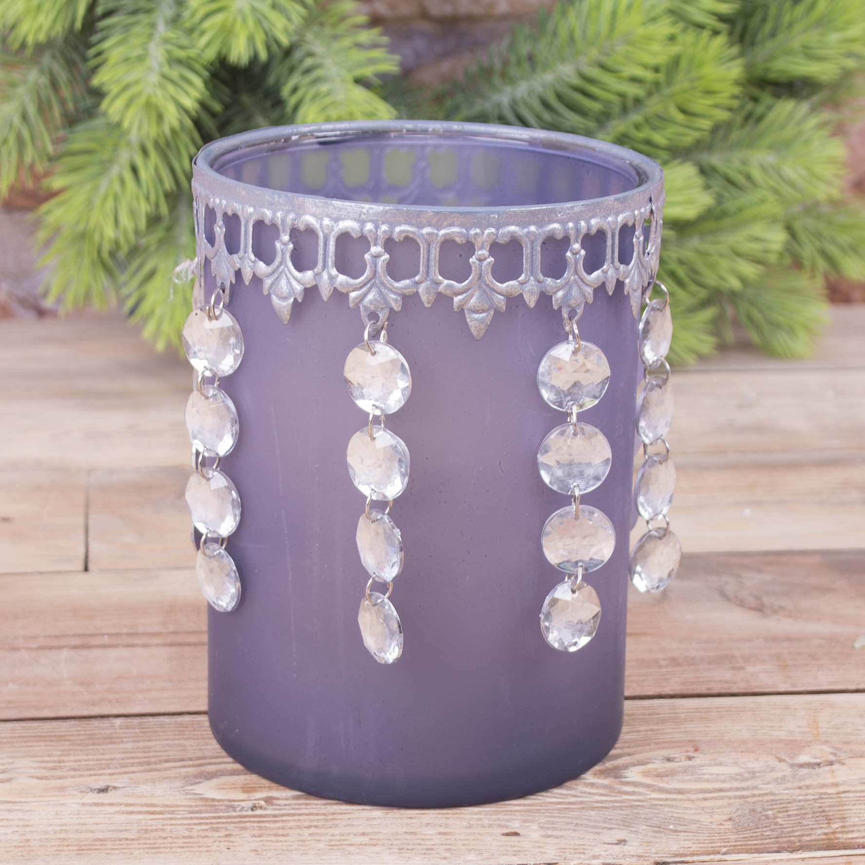 стеклянный подсвечник серый с висячими кристаллами (большой)