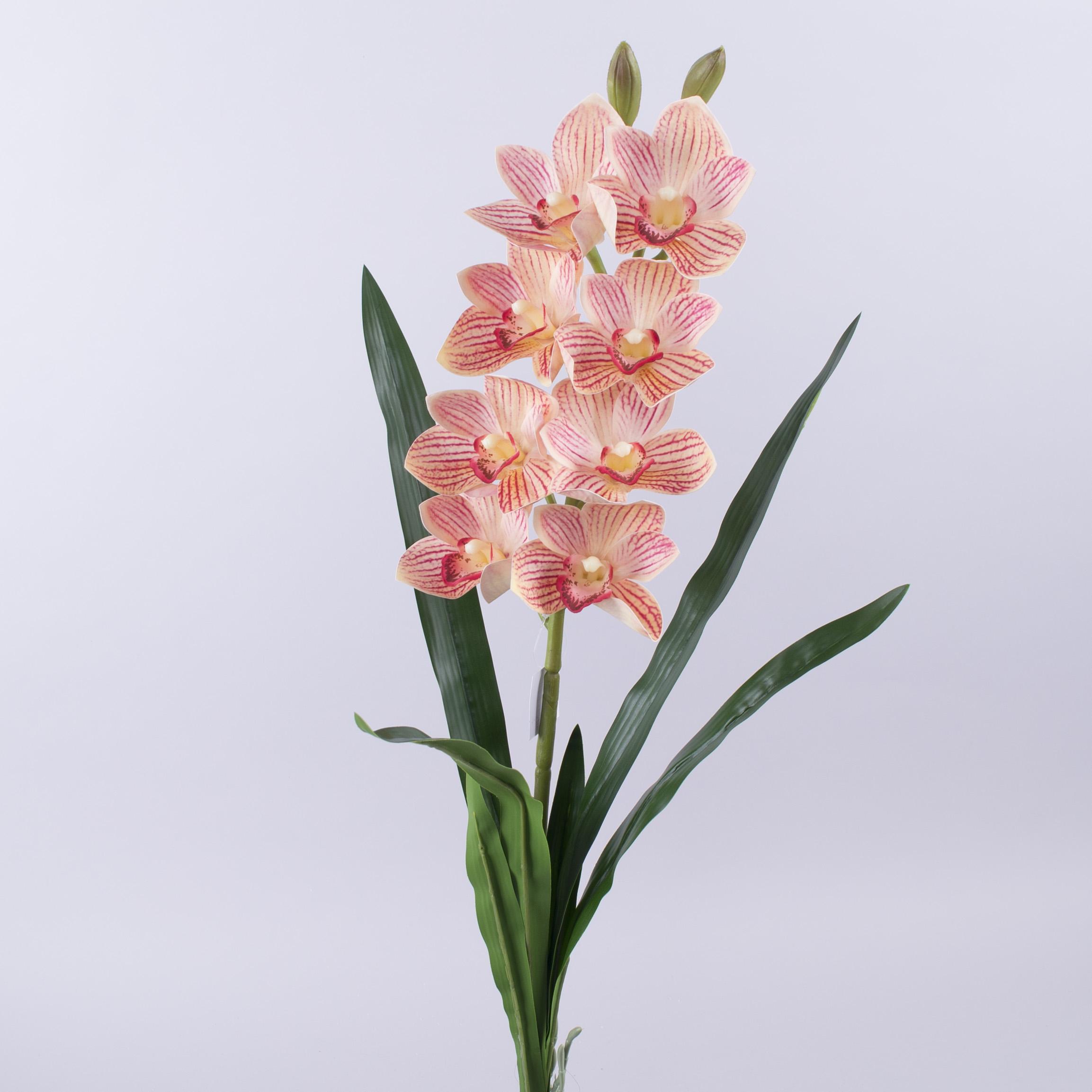 """орхидея латексная """"бабочка""""с длинными листьями (персиковая)"""