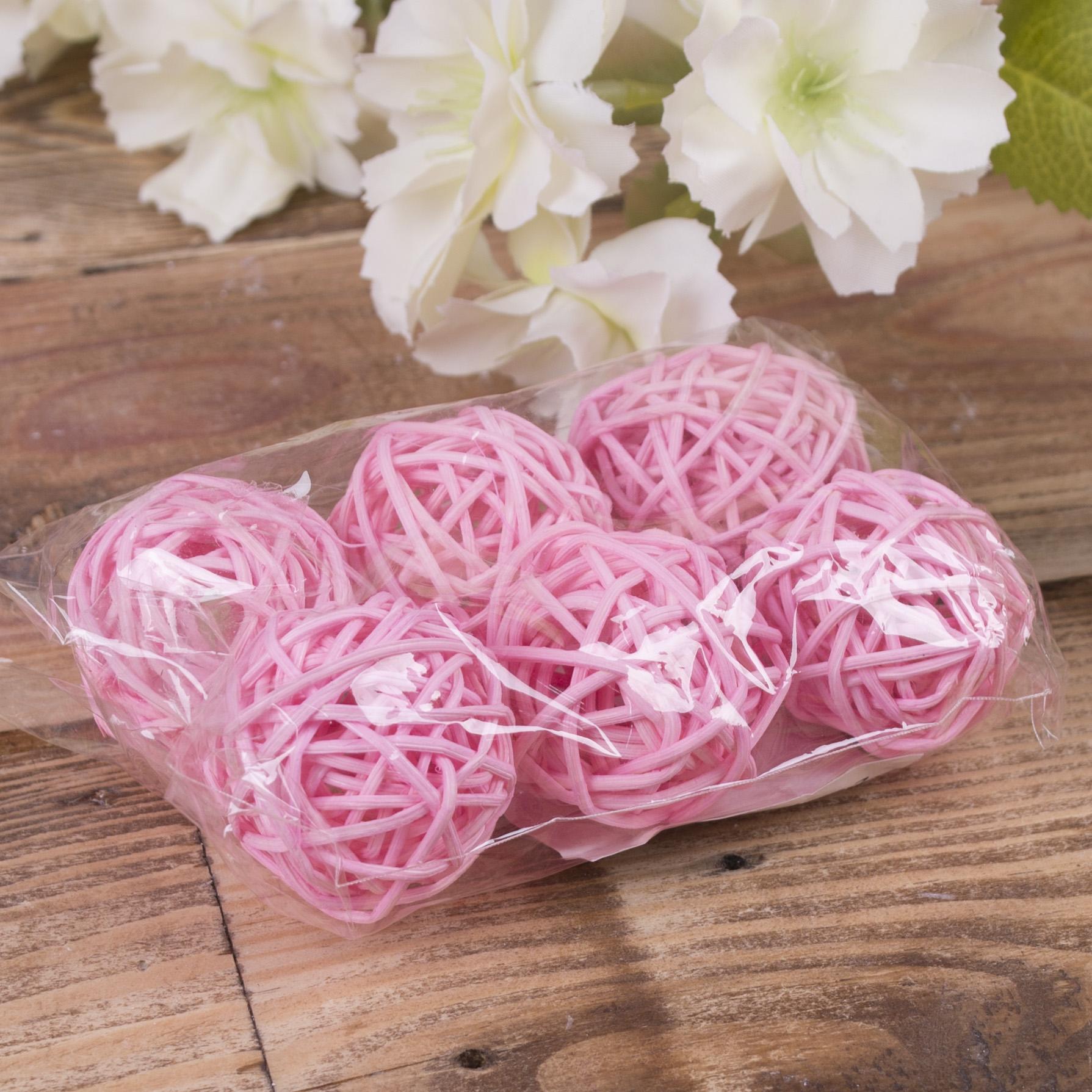 кульки ротанг набір 3 см рожеві