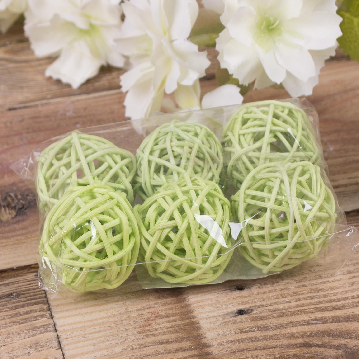 кульки ротанг набір 3 см салатові