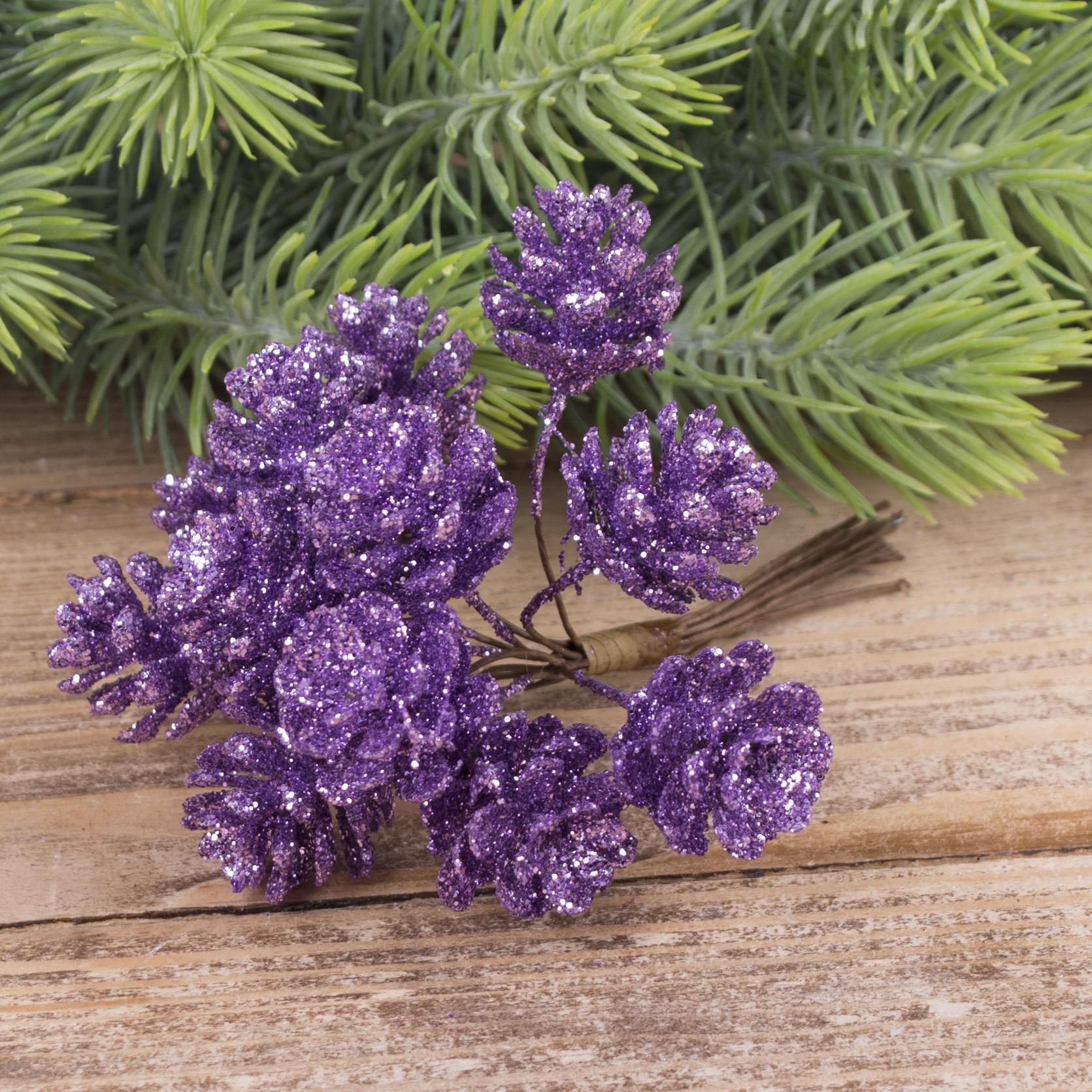 пучок шишки в блестках (11-12шт) темно- фиолетовые