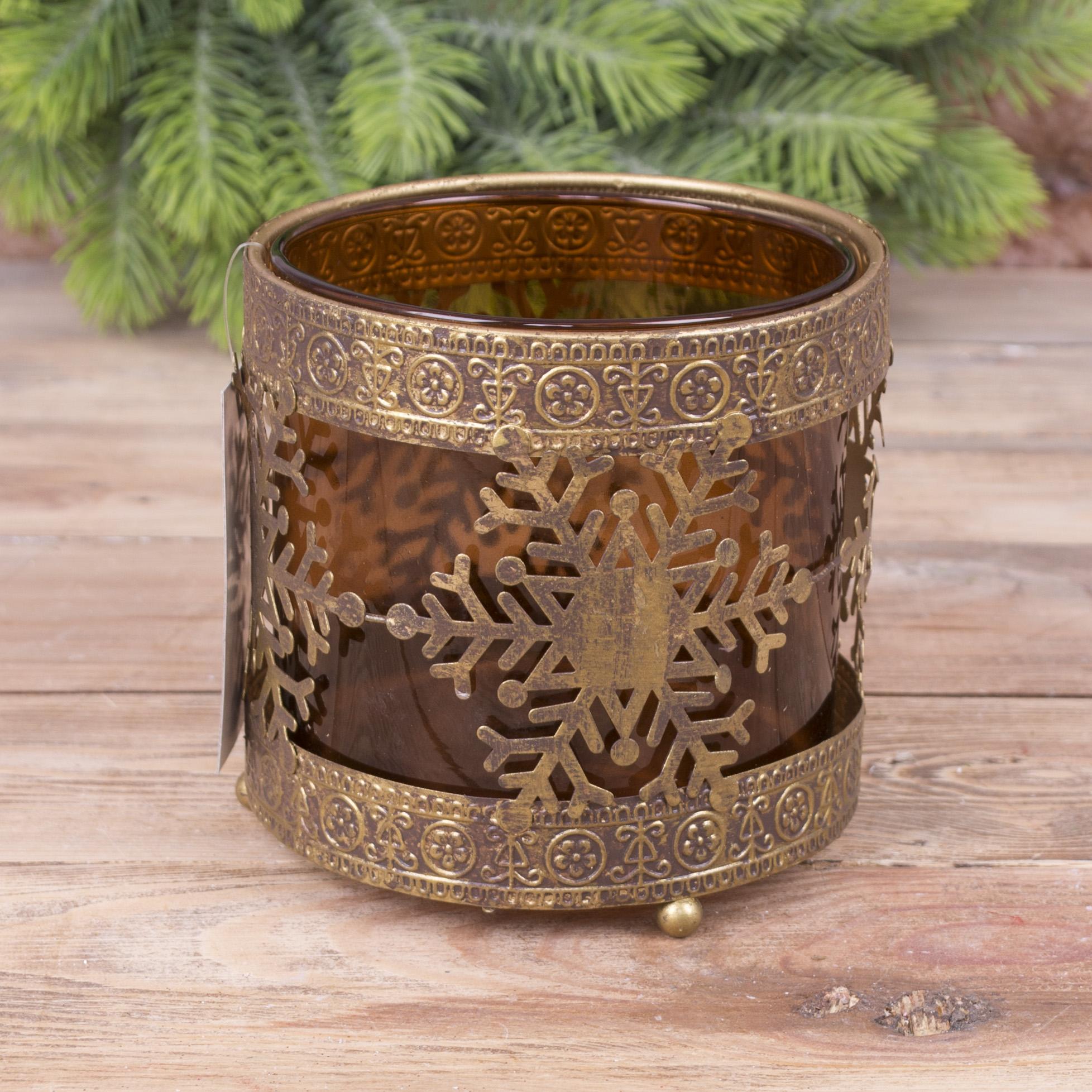подсвечник золотой снежинка-елка