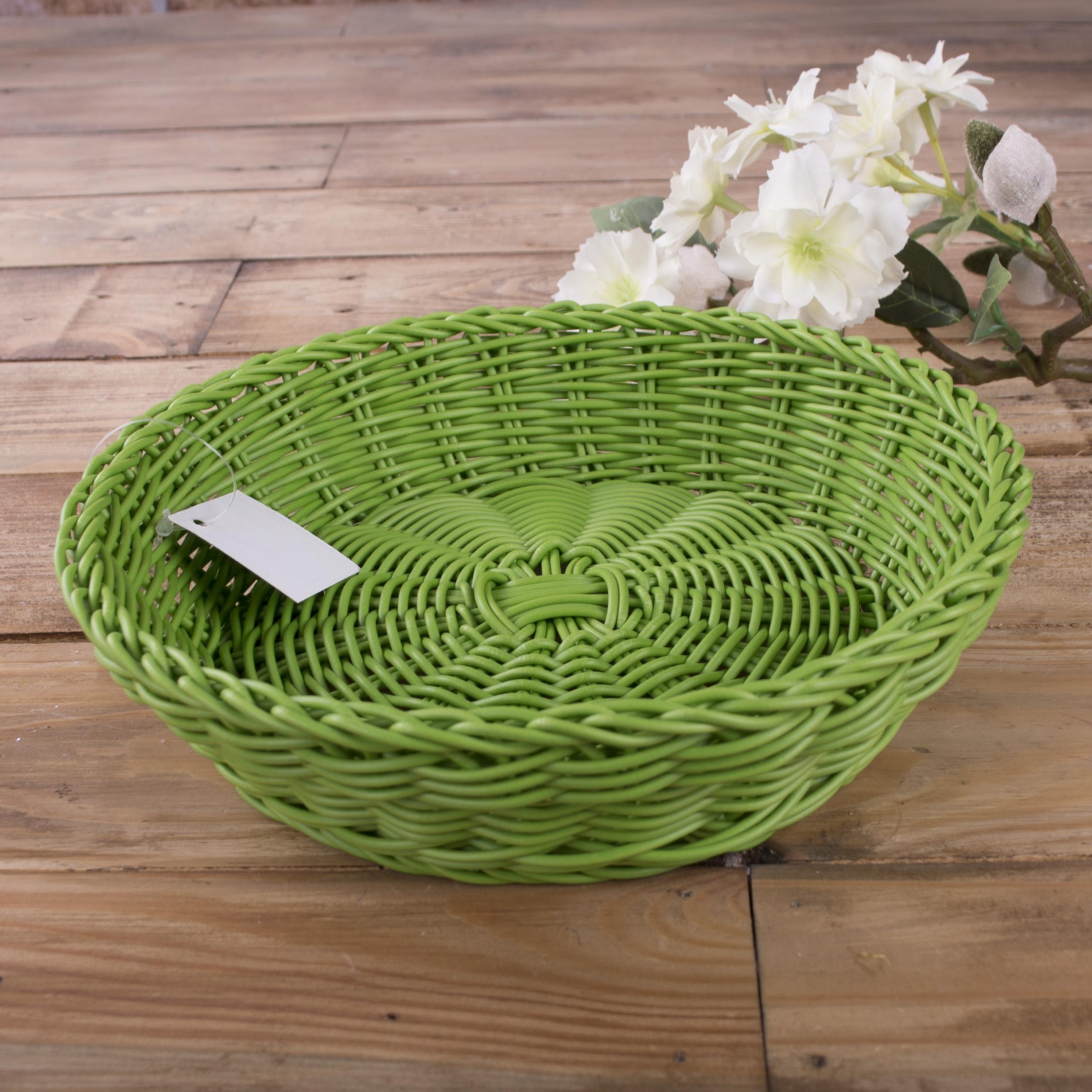 кашпо пластиковое круглое плетеное зеленое