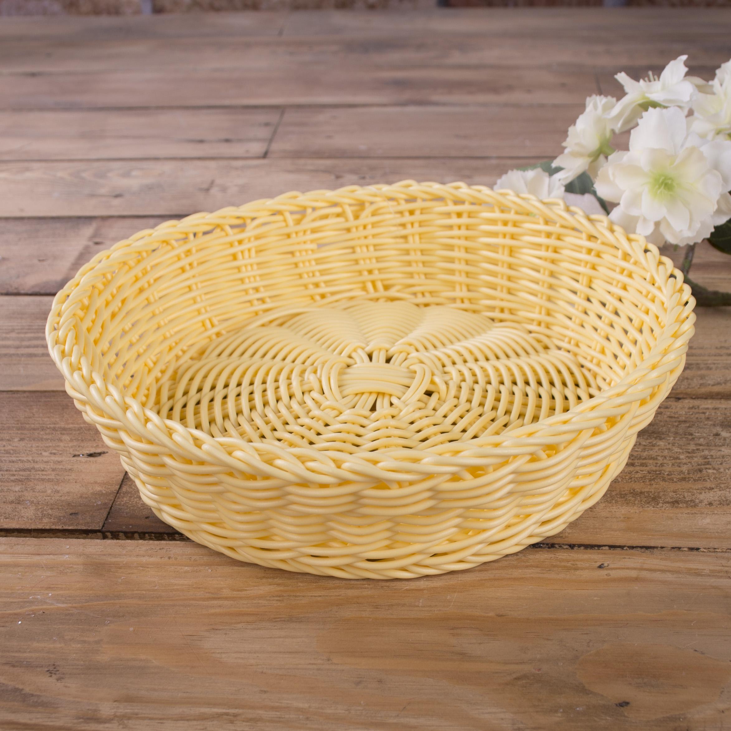 кашпо пластиковое круглое плетеное желтое