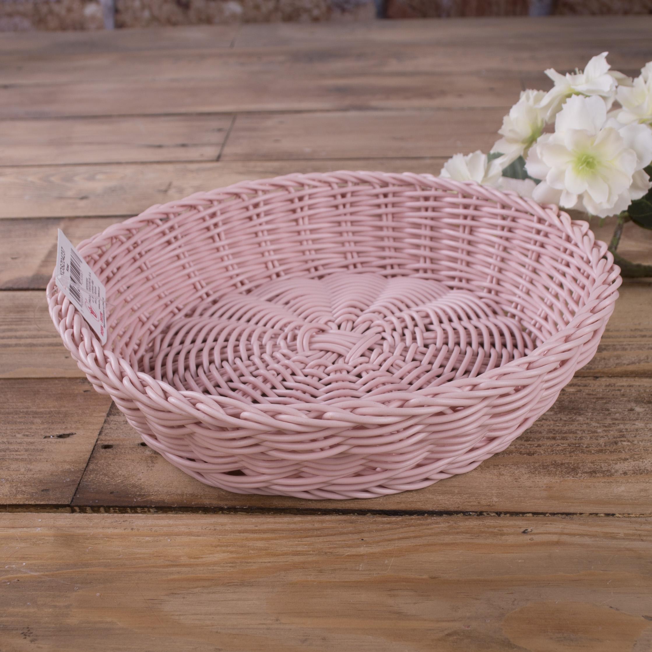 кашпо пластиковое круглое плетеное розовое