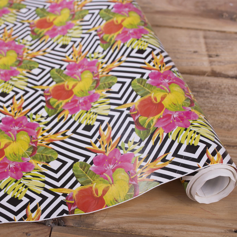 "бумага для подарков ""цветы"" 70см * 10м."