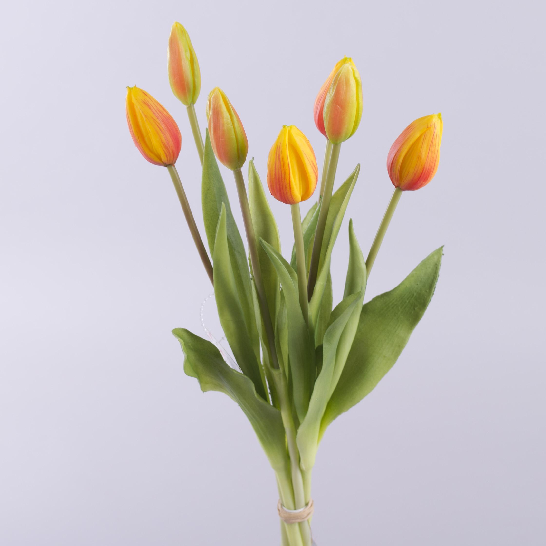 букет тюльпанов латекс на 7 бутонов (желто-оранжевый)