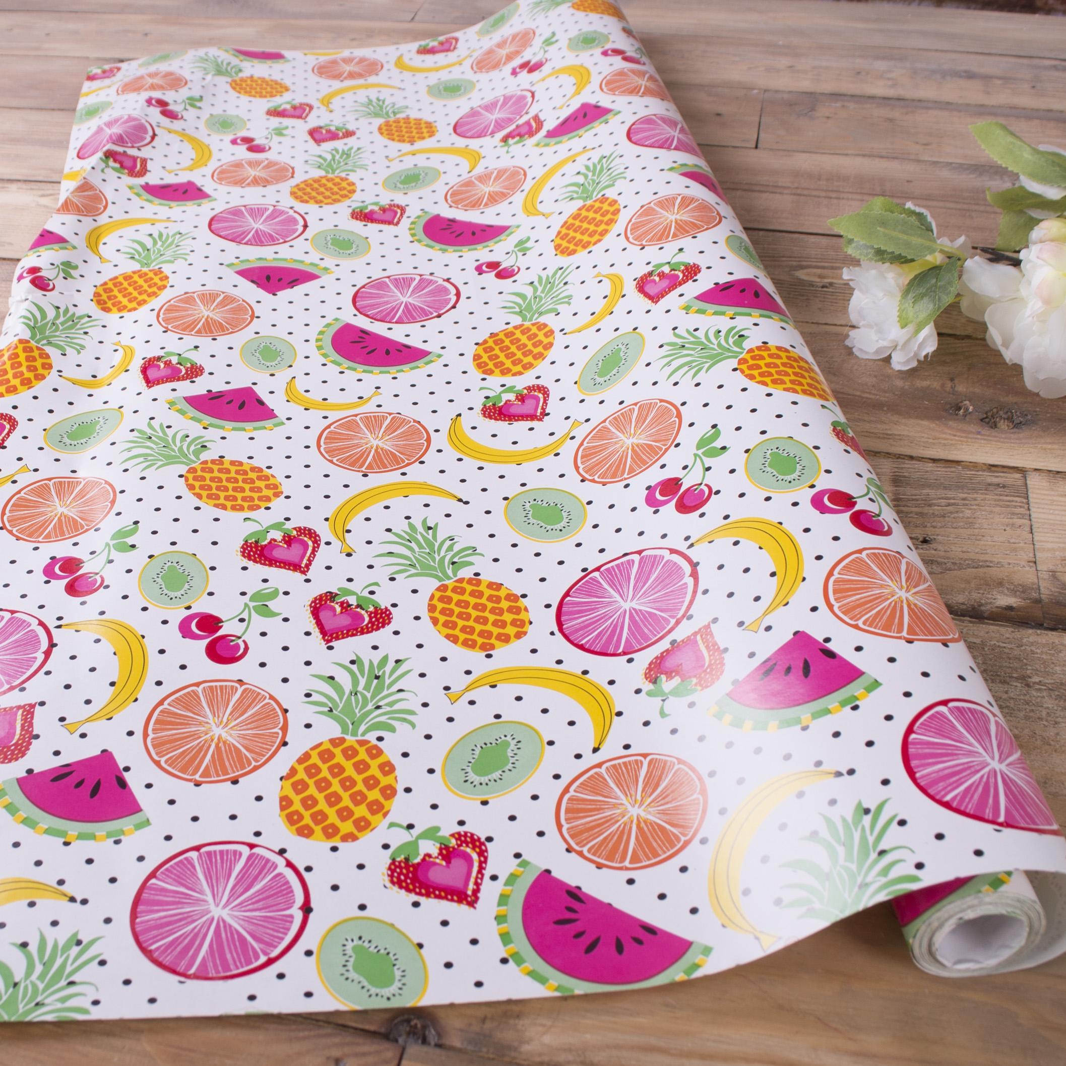 """бумага для подарков """"фрукты """" 70см * 10м."""