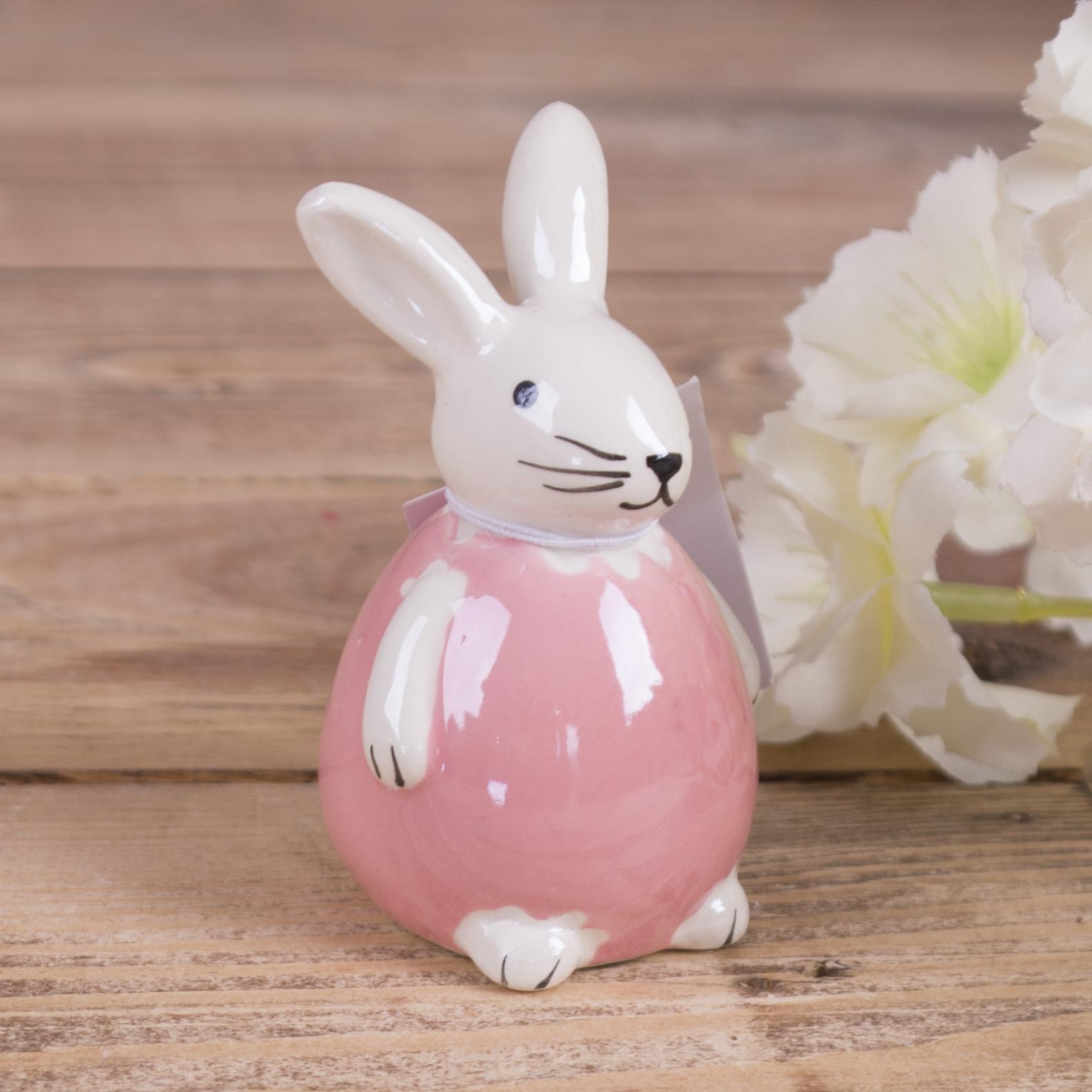 """статуэтка зайчик """"перламутровый"""" розовый"""