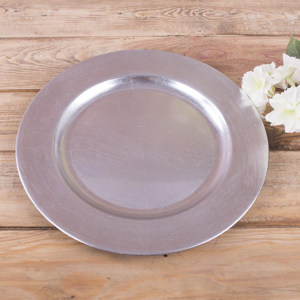 """тарелка пластиковая """"ретро"""" 28см серебро"""