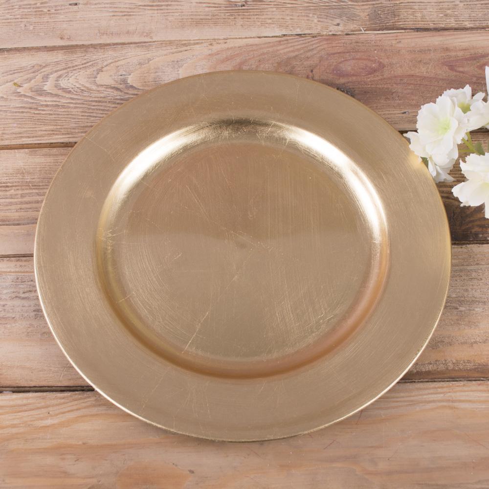 """тарелка пластиковая """"ретро"""" 28см золотая"""