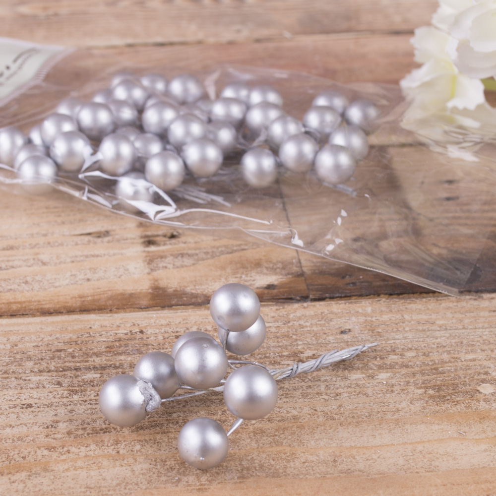 пучок шарики перламутровые серебро