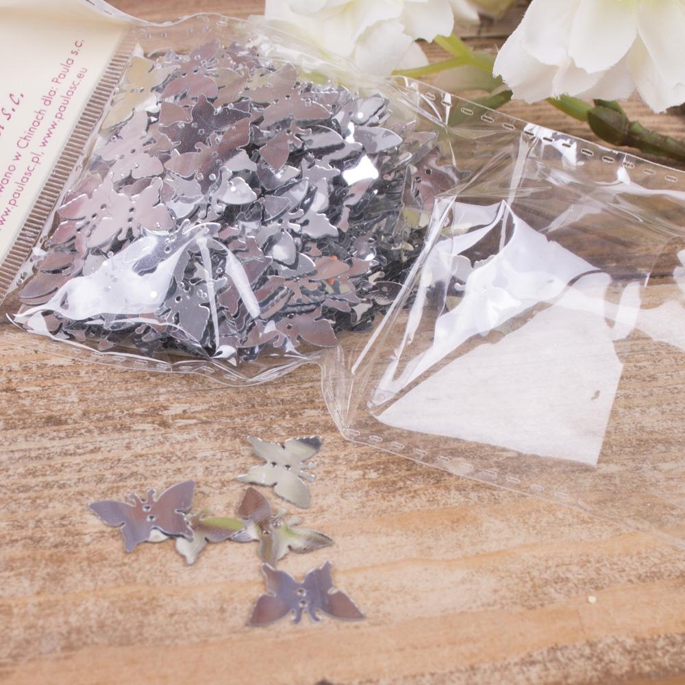 """пайетки """"перламутровые бабочки"""" серебряные"""