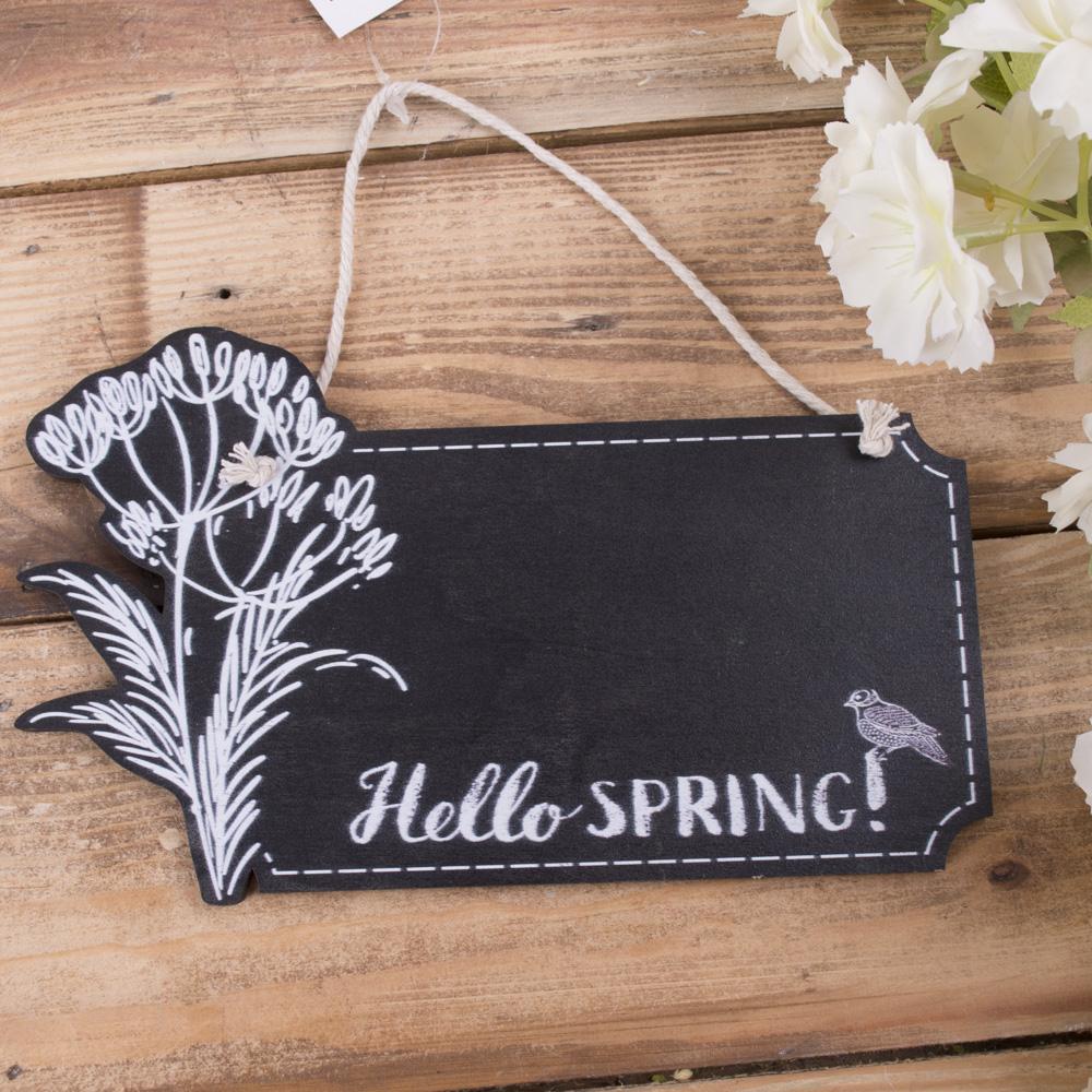"""деревянная меловая доска """"hello spring"""""""