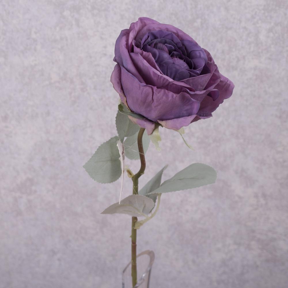 роза с голубым листиком (фиолетовая)