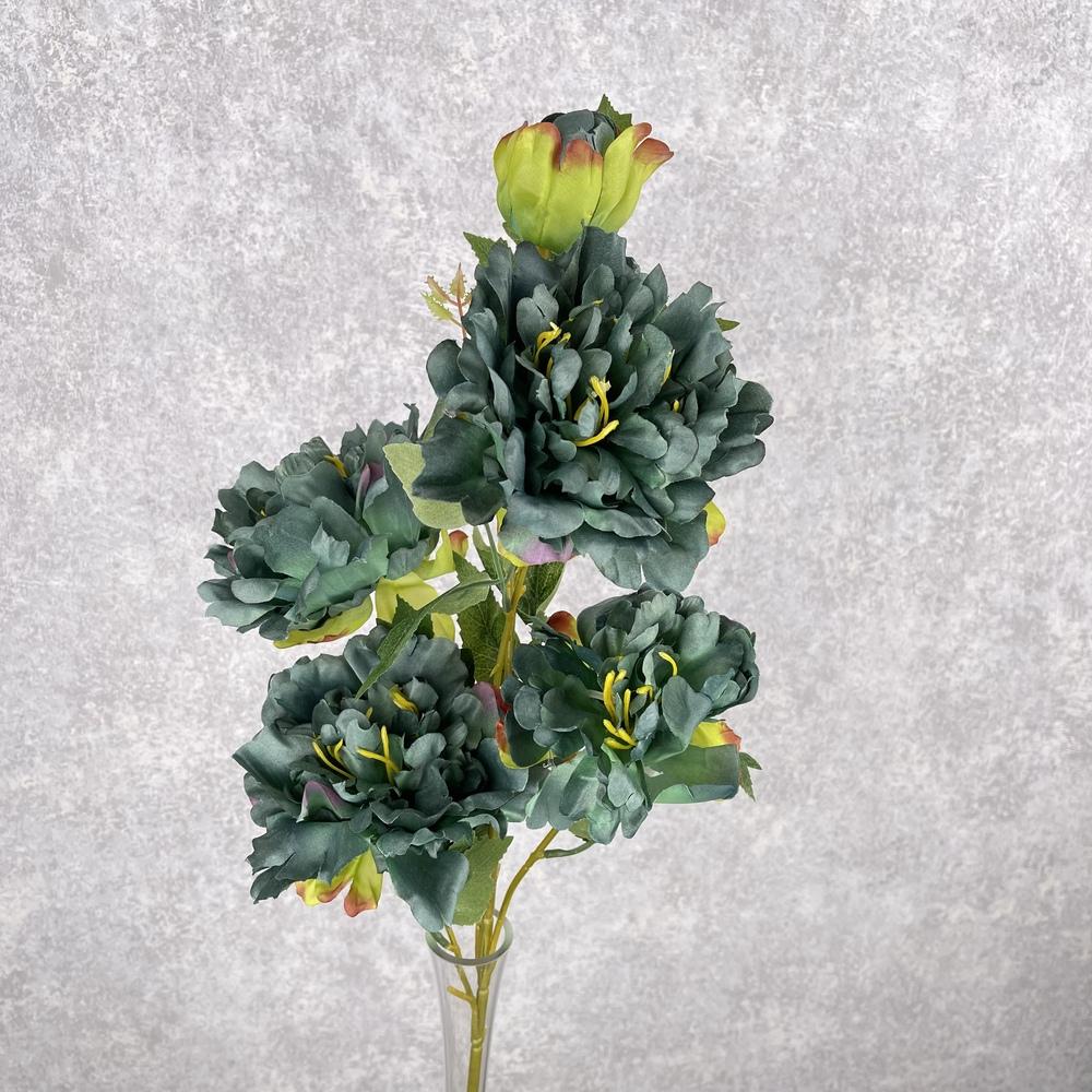 пион на 5 цветков пышный (изумрудный)