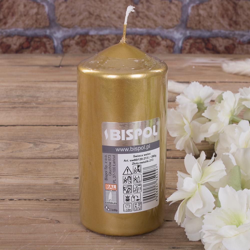 Свеча BISPOL цилиндрическая 60х120мм золотая