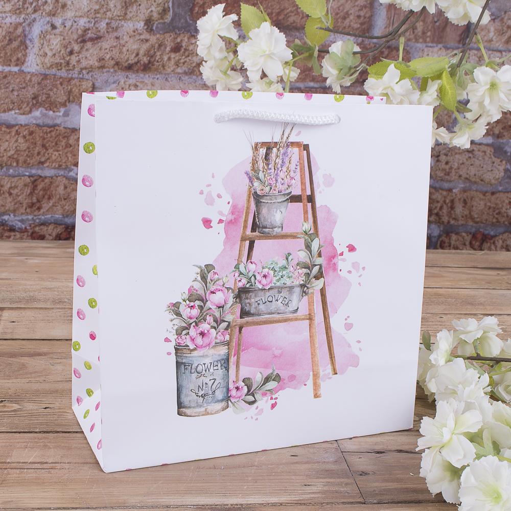 """W1-107 пакет 23*23*10  """"цветы на лестнице"""""""