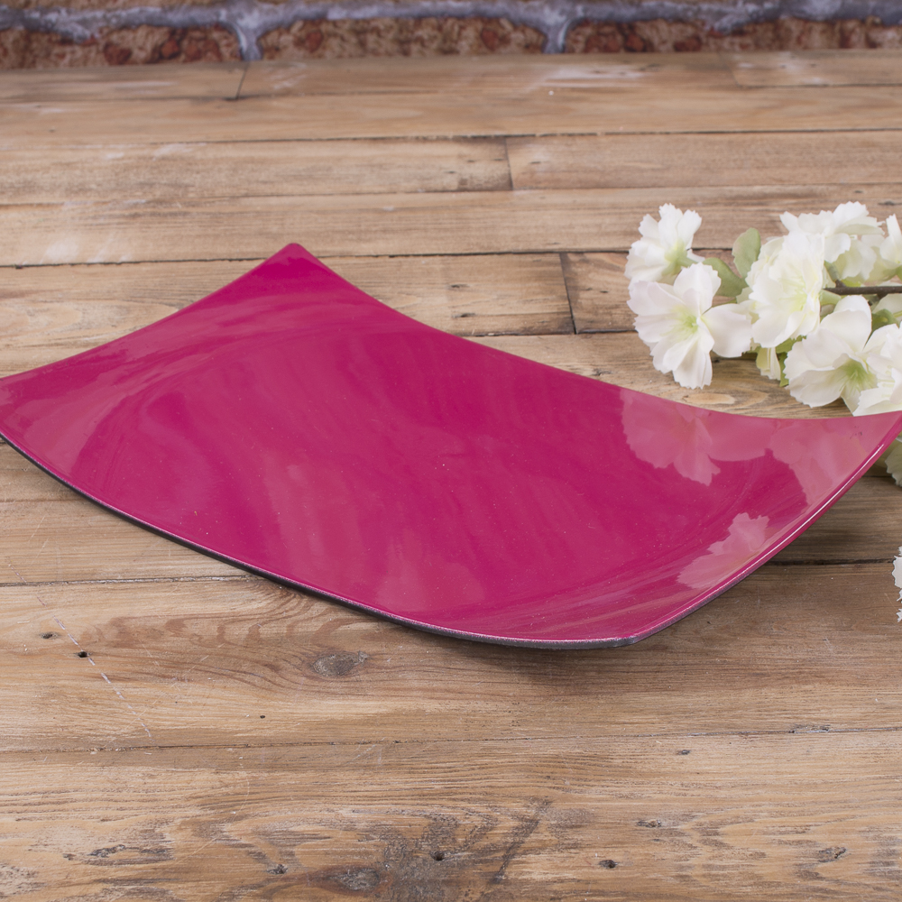 тарелка пластиковая  прямоугольная  (фуксия)