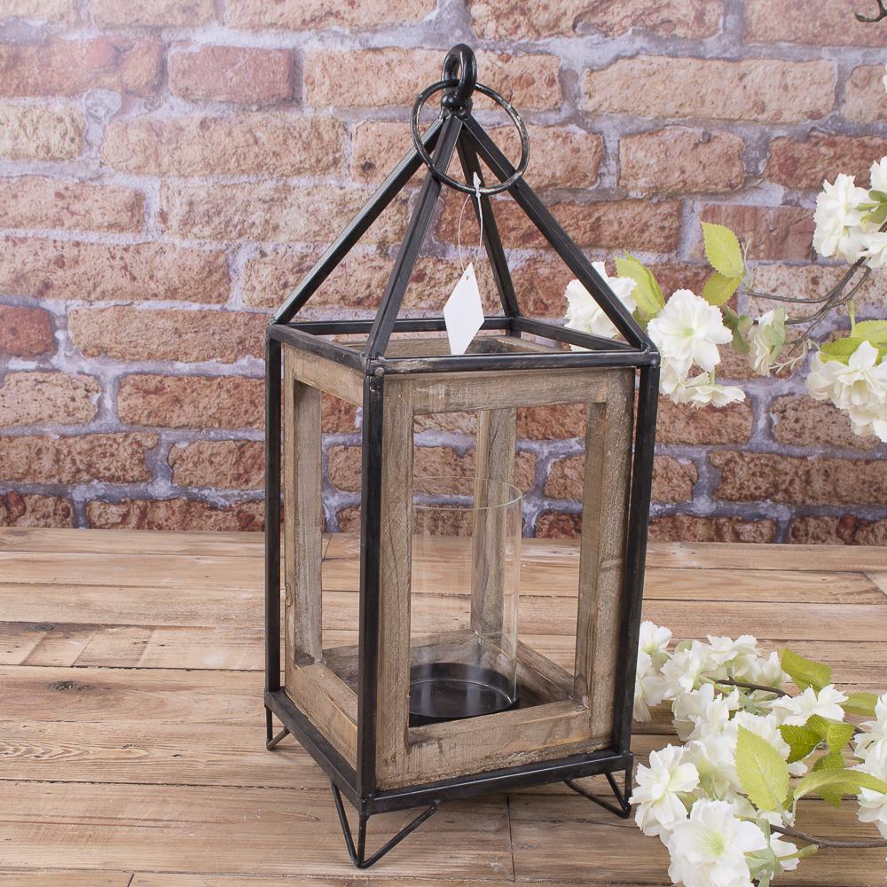Ліхтар деревяний з скляною колбою