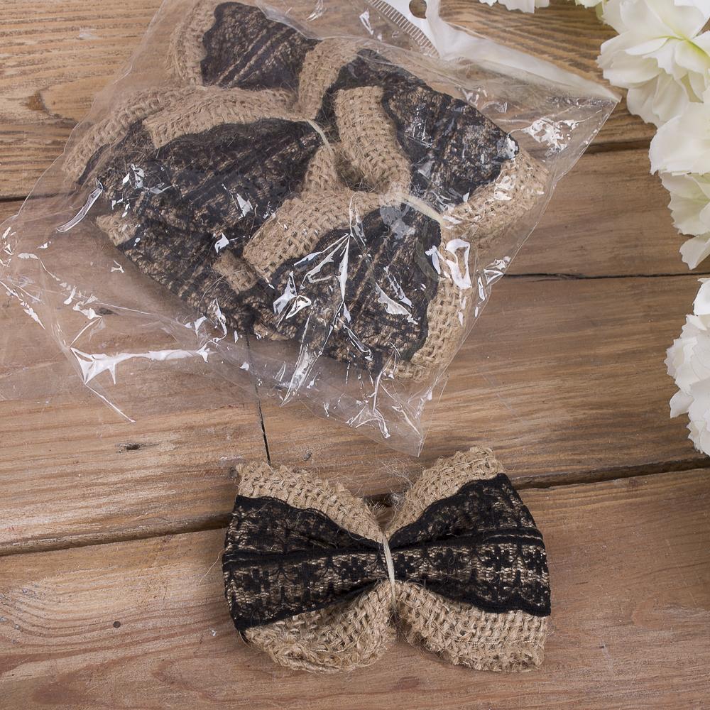 Бантики декоративные из мешковины (черные)