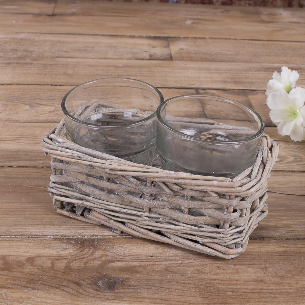 Скляні вставки в коричневому кашпо з лози