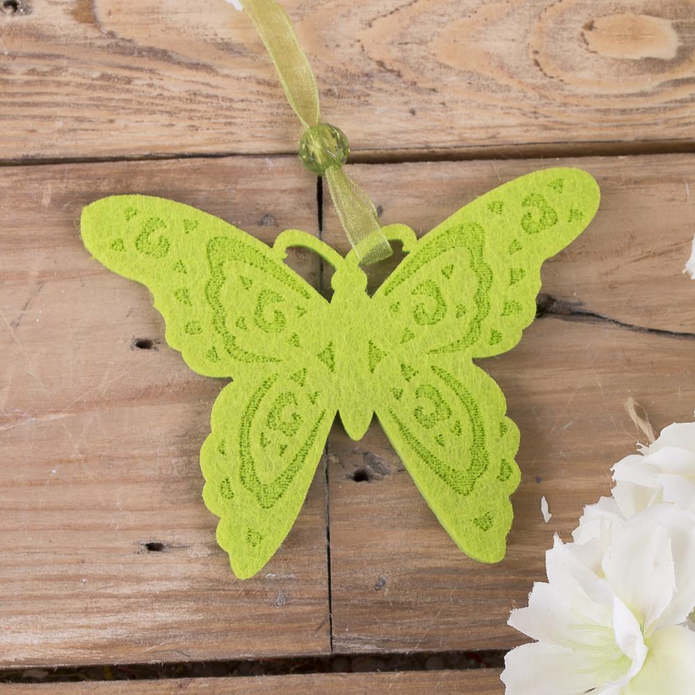 подвеска бабочка с флизелина зеленая