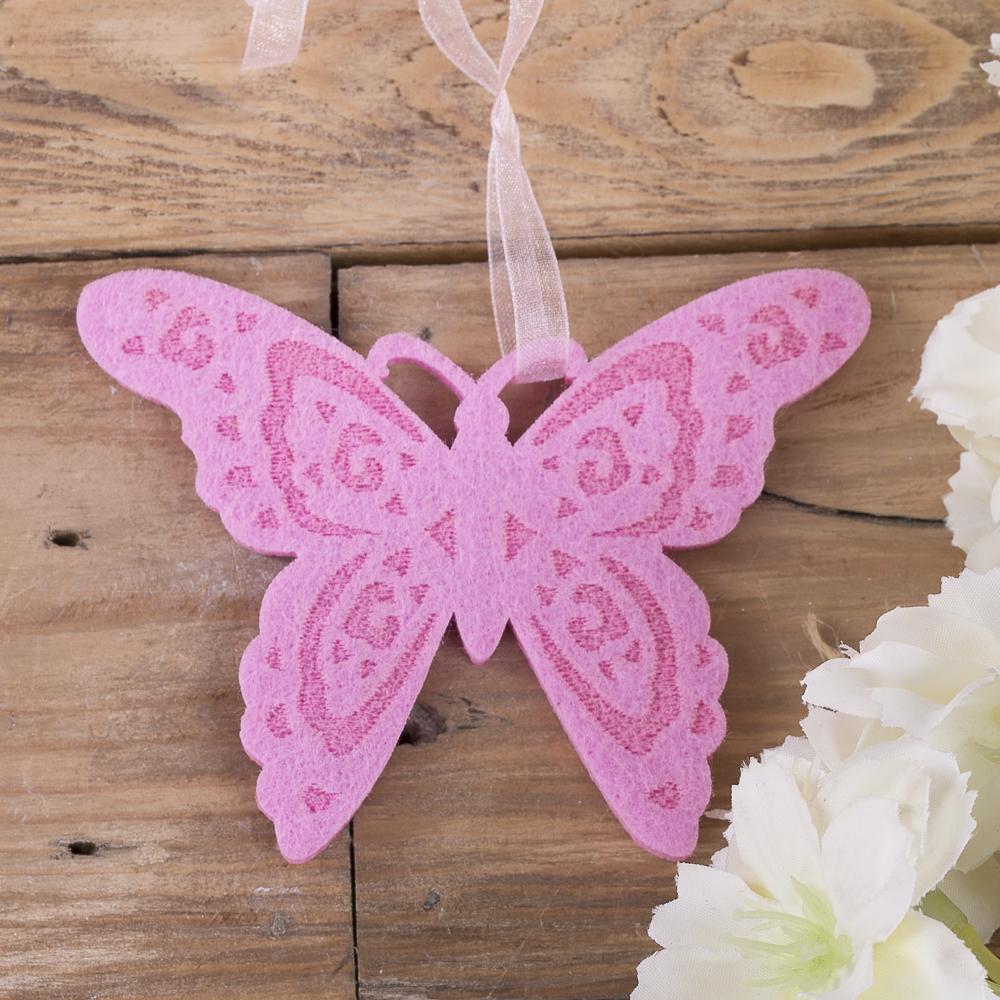 подвеска бабочка с флизелина розовая