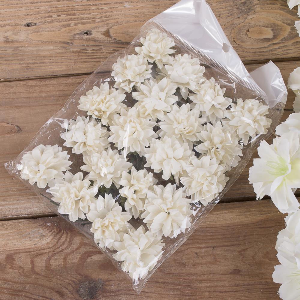 бутоньерка хризантема бумажная (20шт) белая