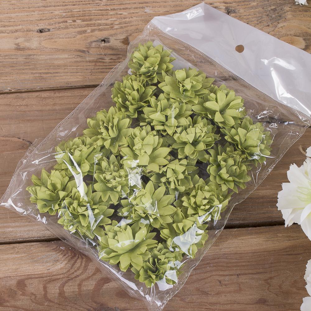 бутоньерка хризантема бумажная (20шт) зеленая