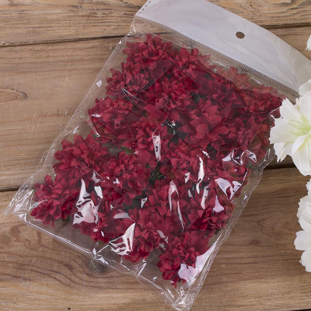 бутоньерка хризантема бумажная (20шт) красная