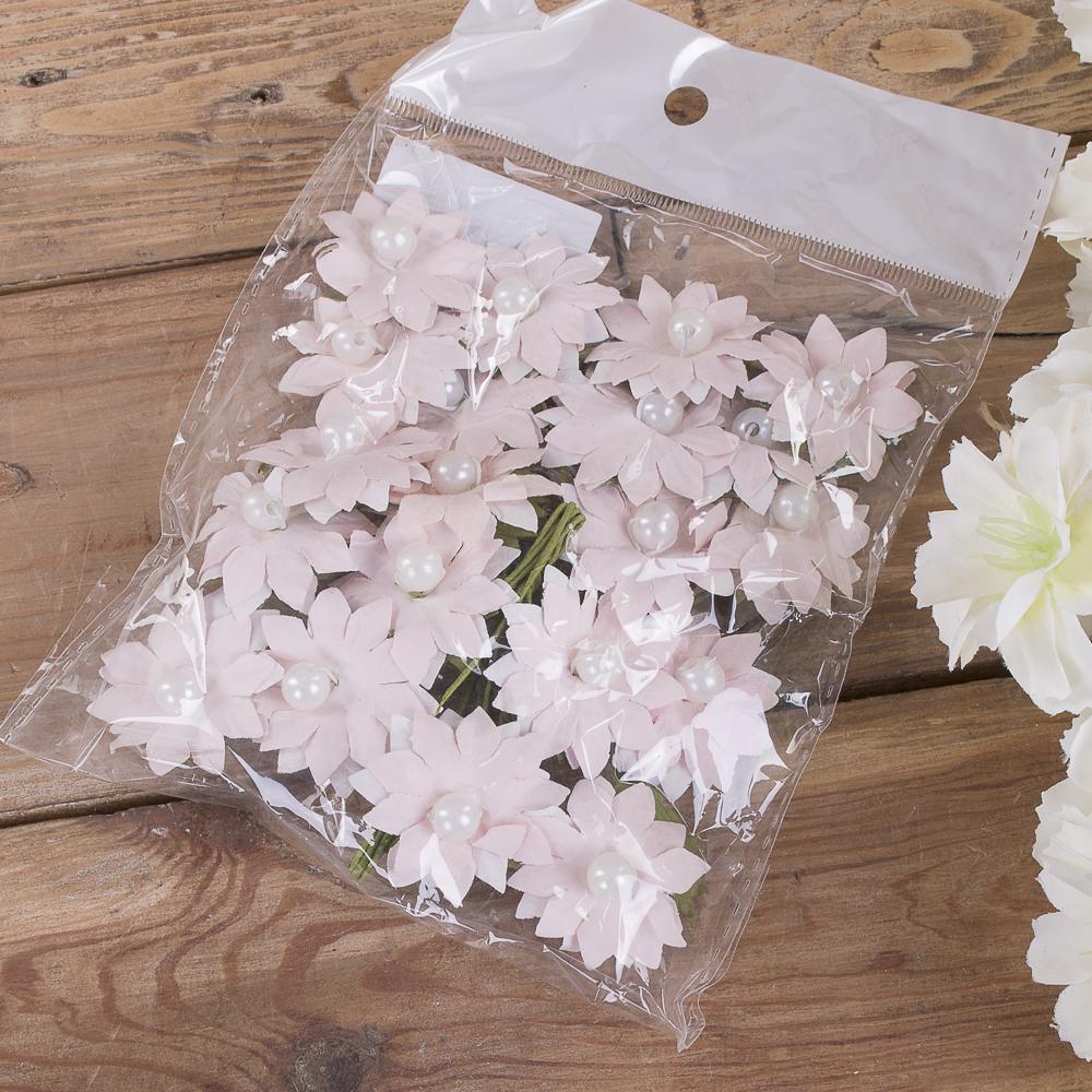 бутоньерка ромашка бумажная (20шт) розовая