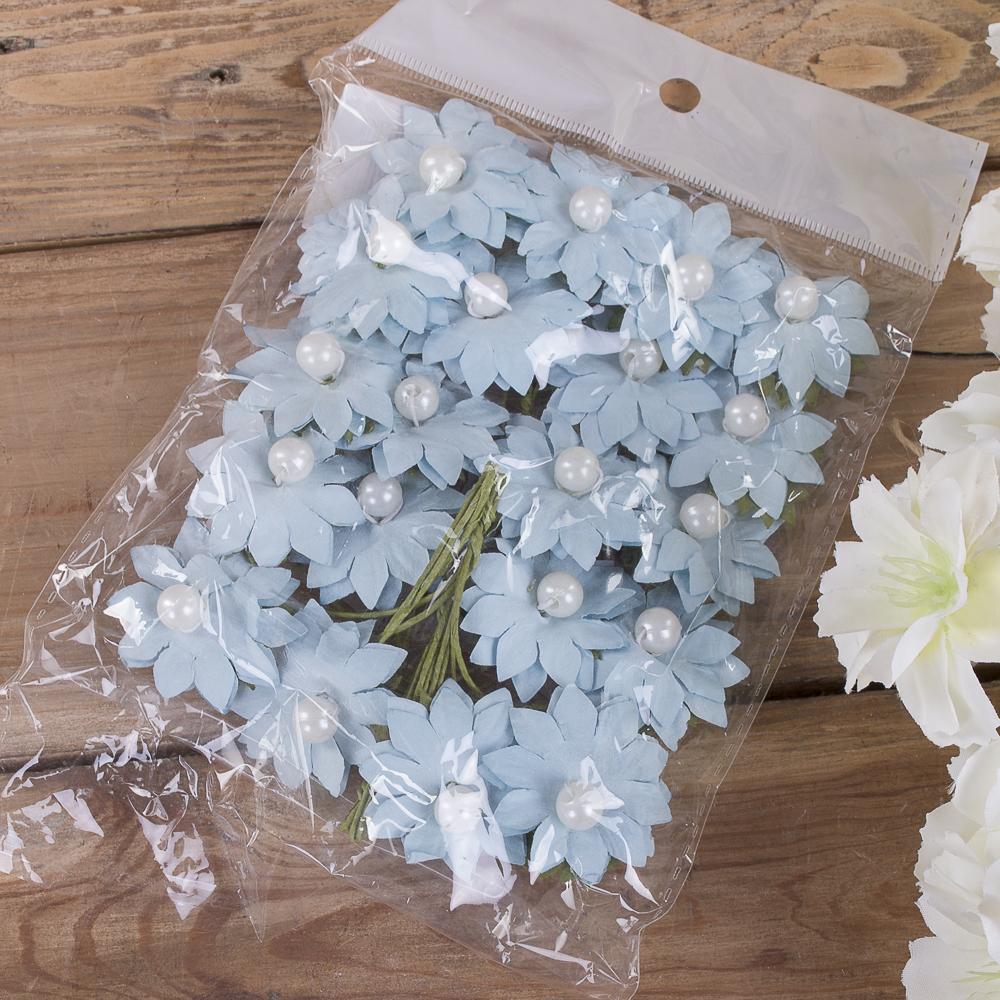 бутоньерка ромашка бумажная (20шт) голубая