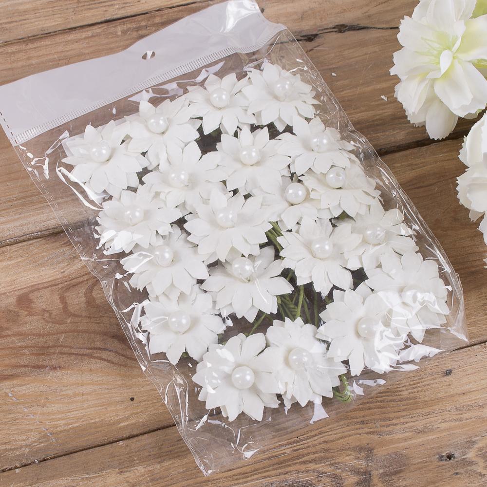 бутоньерка ромашка бумажная (20шт) белая
