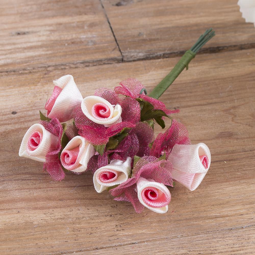 бутоньерка розочка с фатином розовая