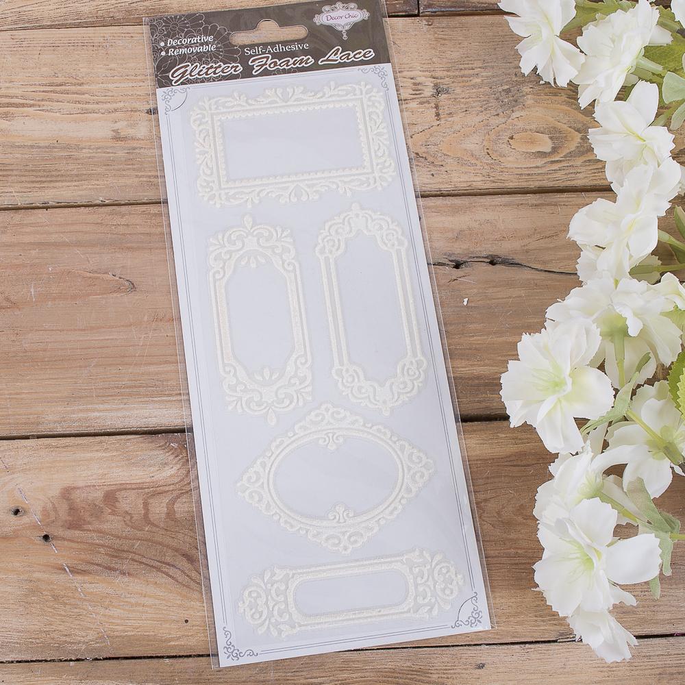Наклейки для скрапбукинга белые рамочки №2