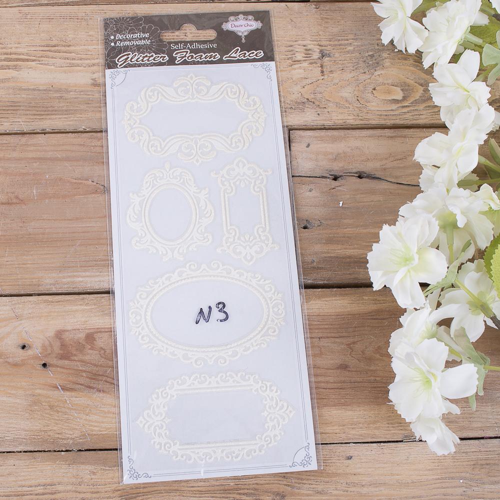 Наклейки для скрапбукинга белые рамочки №3