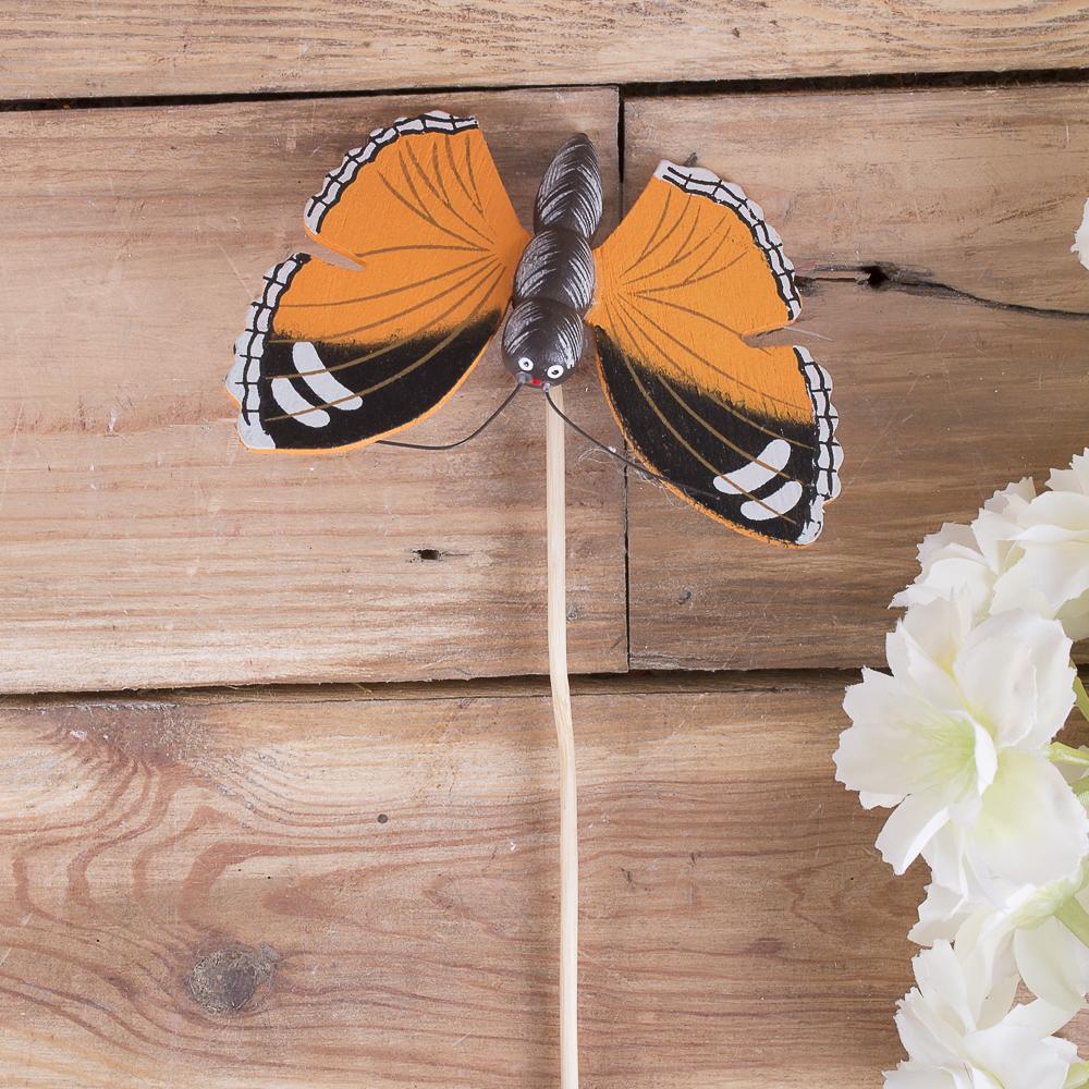 бабочка деревянная на палочке оранжевая
