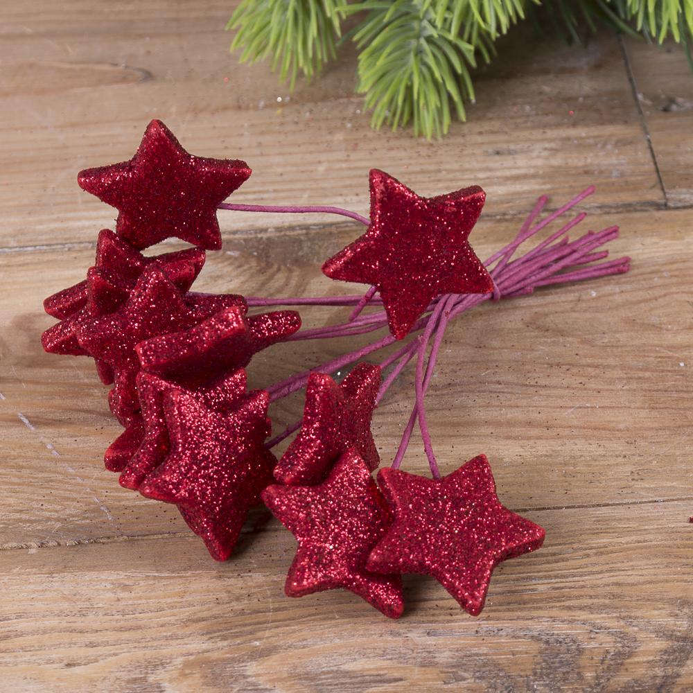 пучок звезды в блестках  (набор 12шт) красные