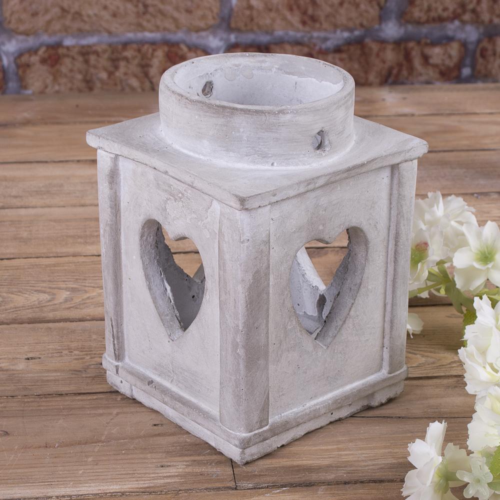 фонарь - подсвечник бетонный с сердцем (малый)