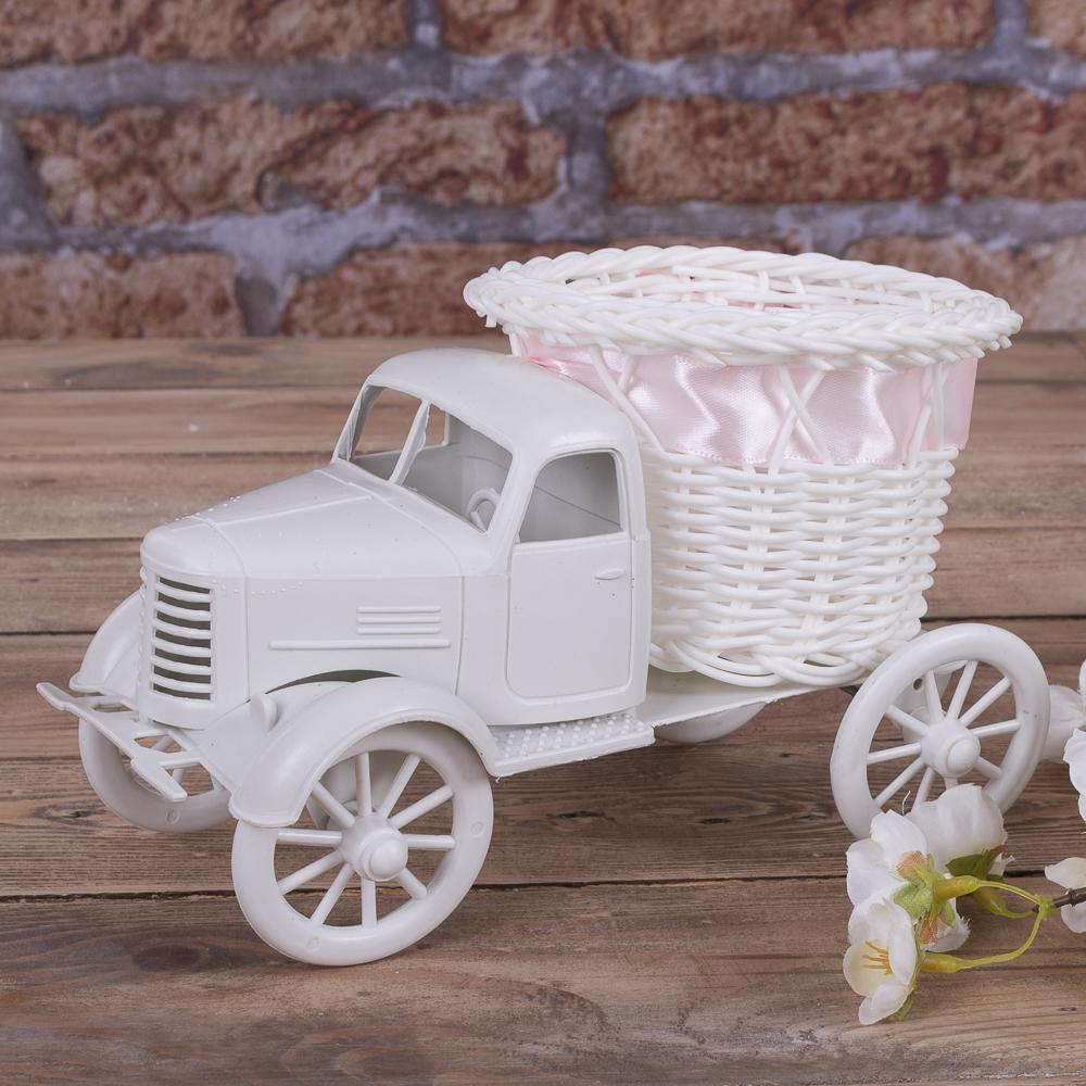 Кашпо грузовик  пластиковый (с розовой лентой)