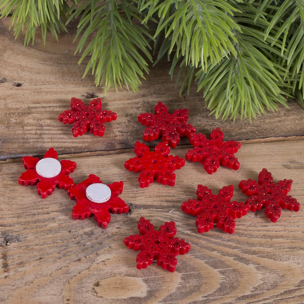 наклейки снежинки  из керамики красные