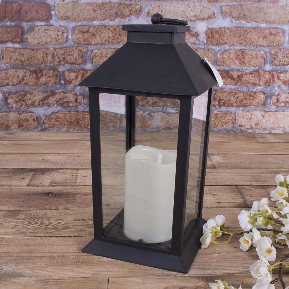 Ліхтар з свічкою LED  чорний