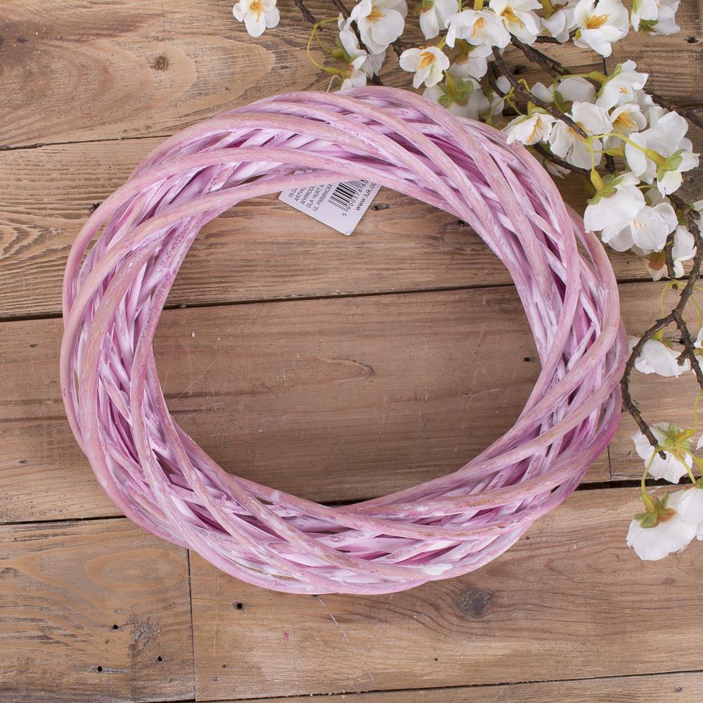 Вінок з лози 25см рожевий