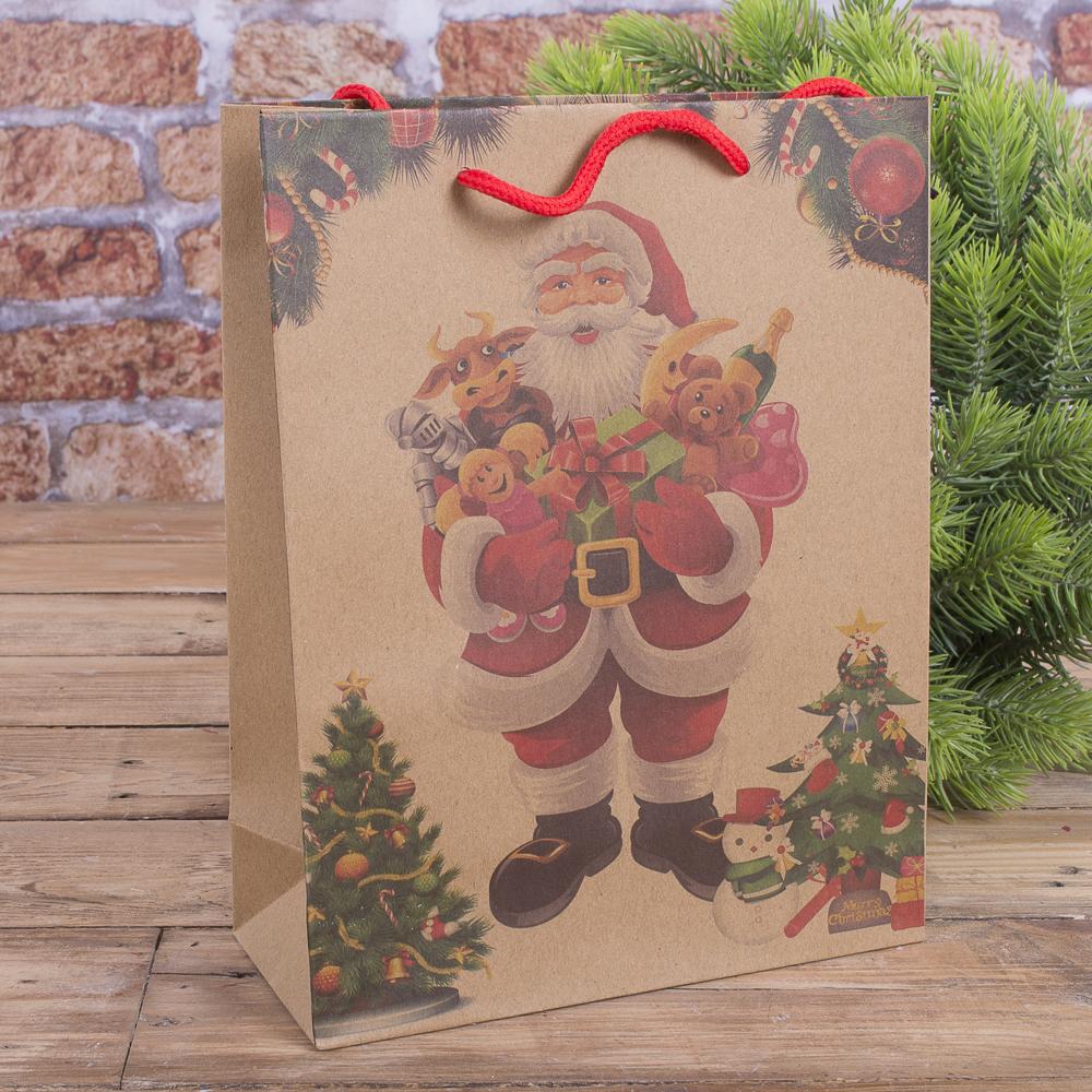 """Пакет новорічний 24 * 19 см """"Санта з іграшками"""""""