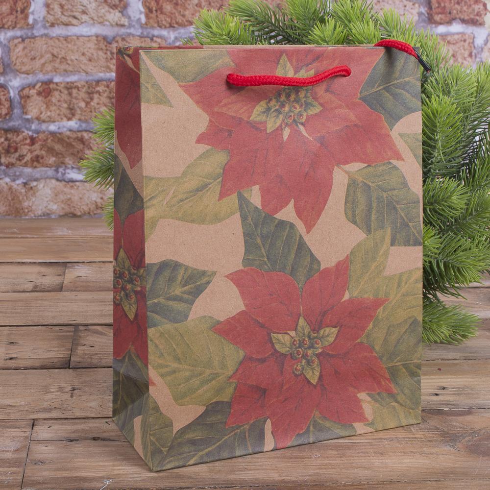"""Пакет новорічний 24 * 19 см """"Пуансетія"""""""