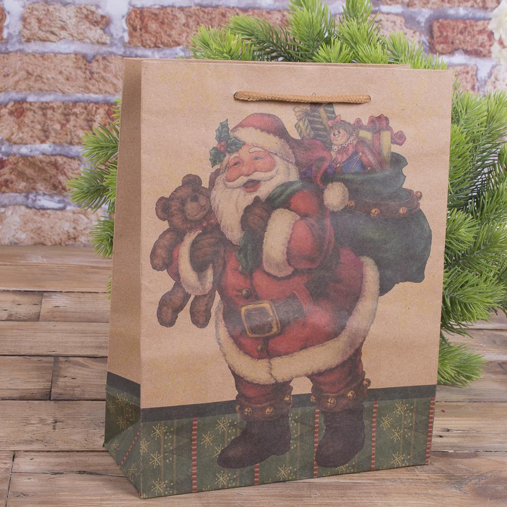 """Пакет новорічний 24 * 19 см """"Санта з мішком"""""""