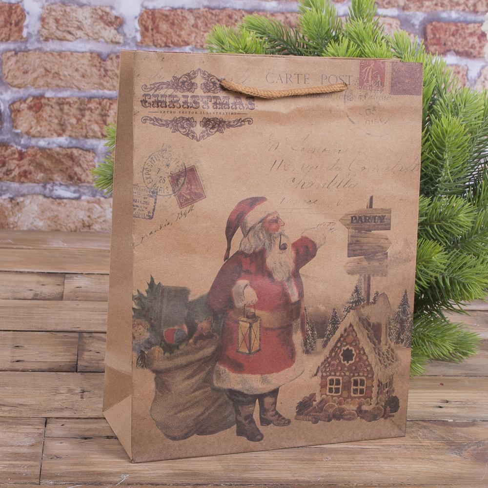 """Пакет новорічний 24 * 19 см """"Санта біля доміка"""""""