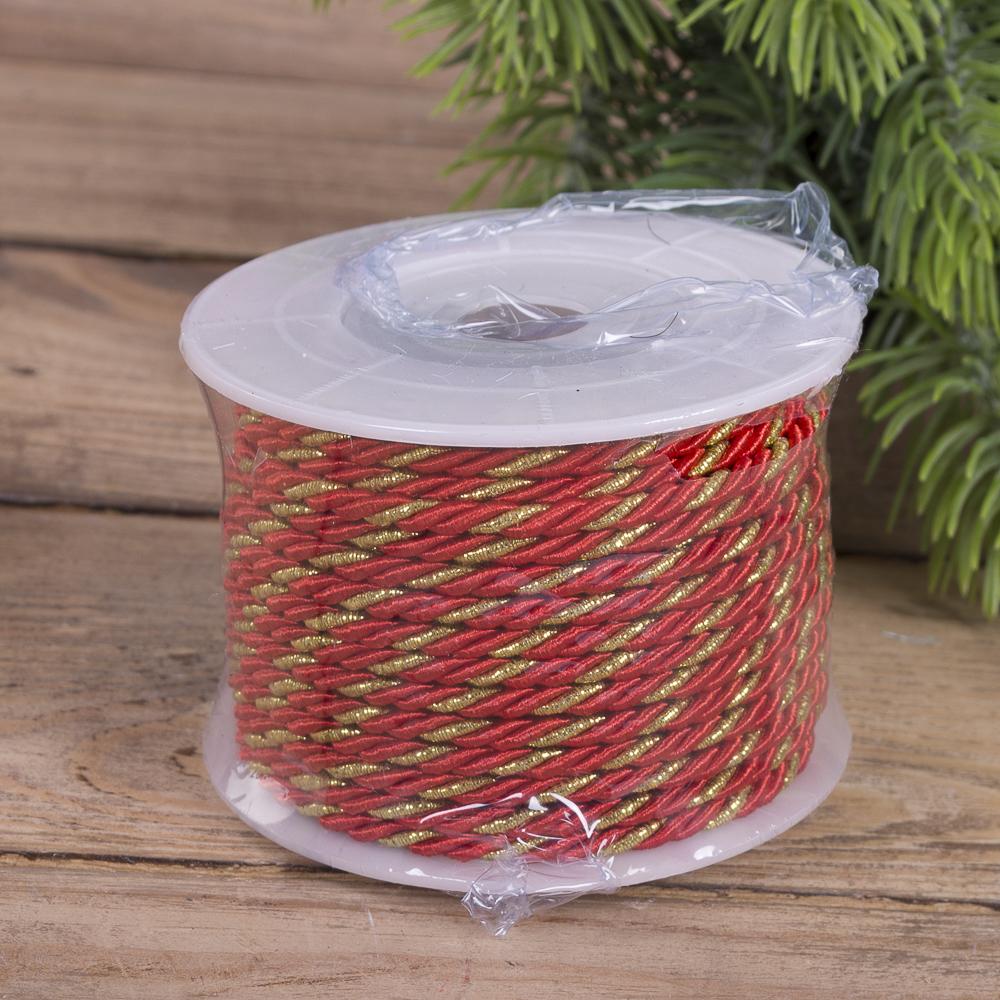 Шнурок з золотим плетінням червоний