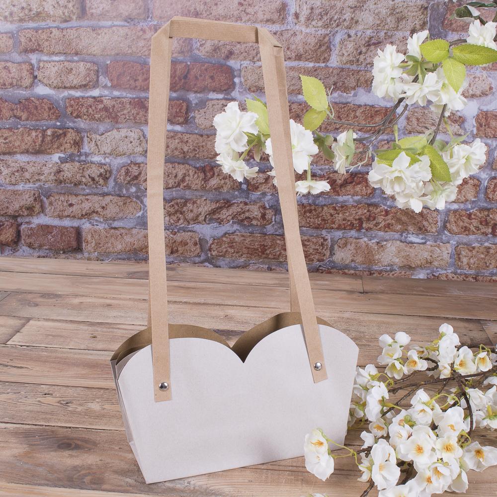 """Пакет под цветы """"двойной с квадратной ручкой"""" (серый)"""